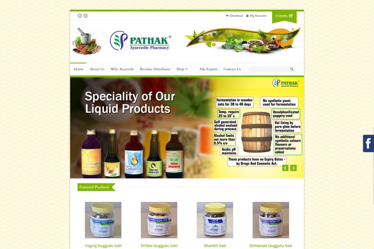 Our Work ayurvedic pharmacy ecommerce website development