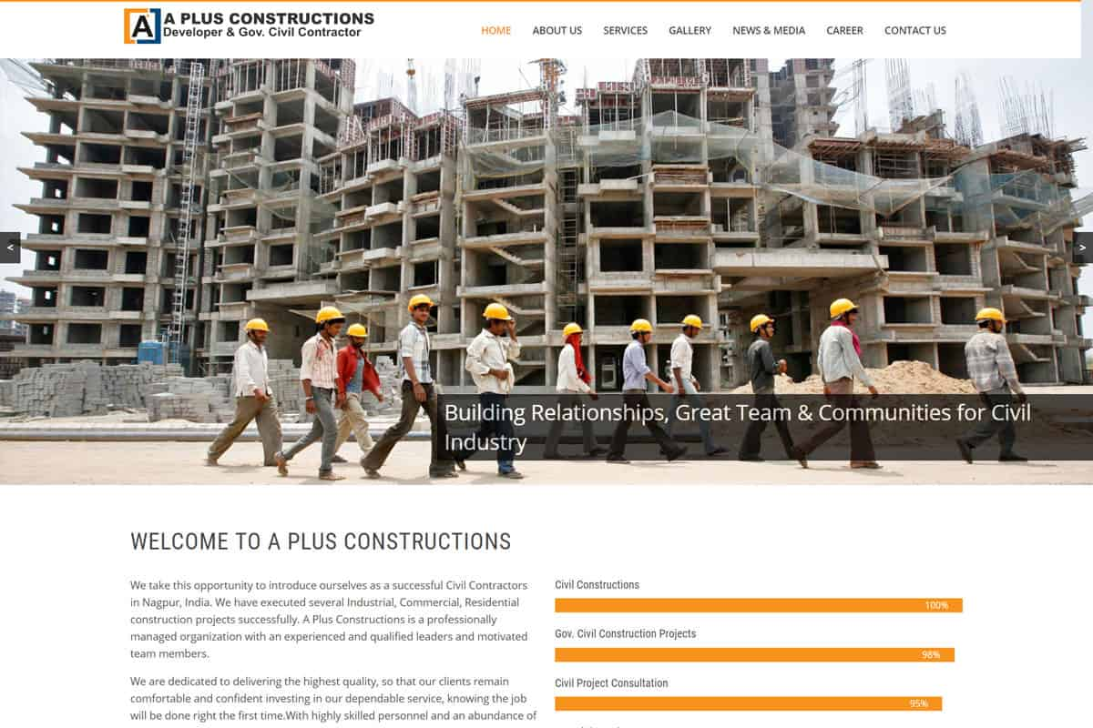 Our Work civil construction company website designing