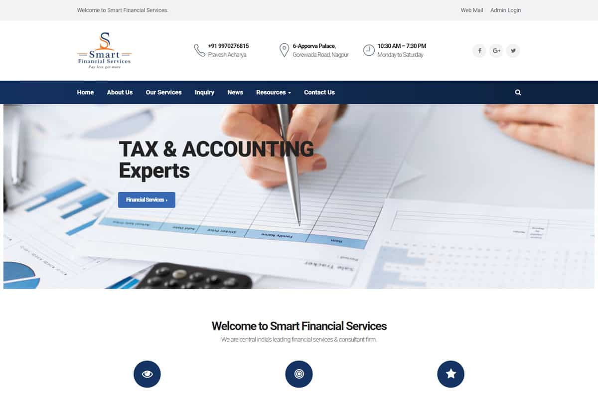 Our Work financial services website designing