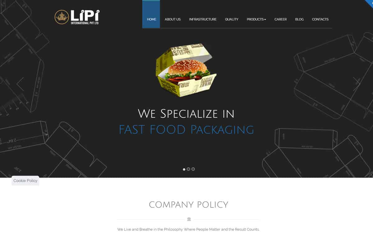 Our Work food packaging website designing development