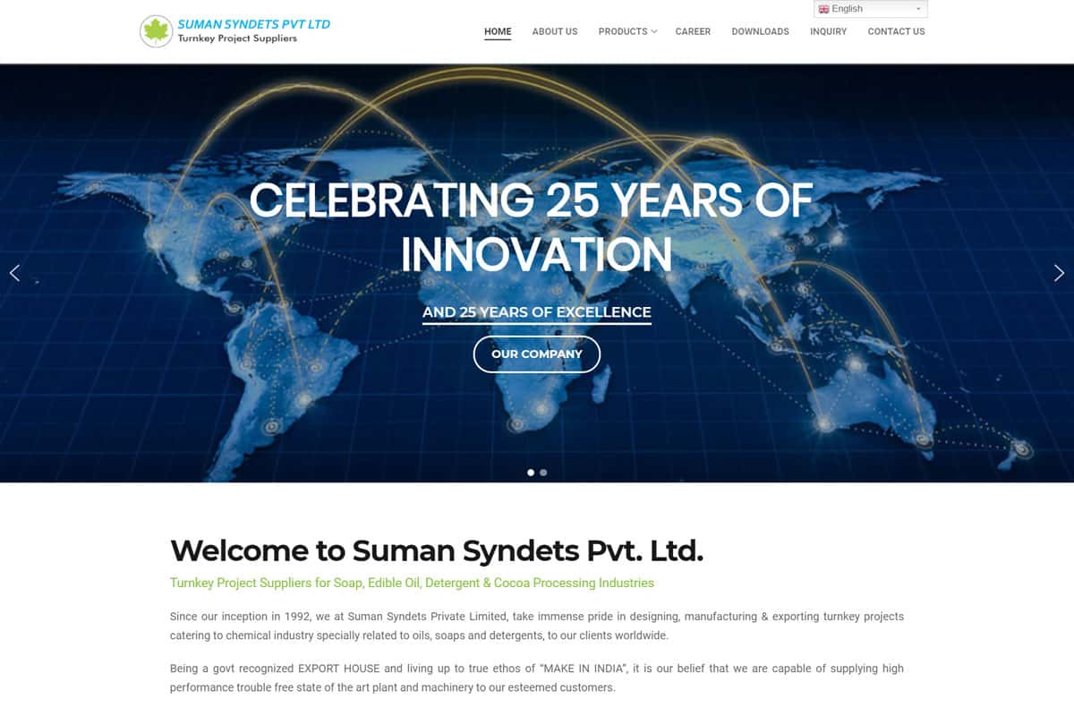 Our Work industrial corporate website designing