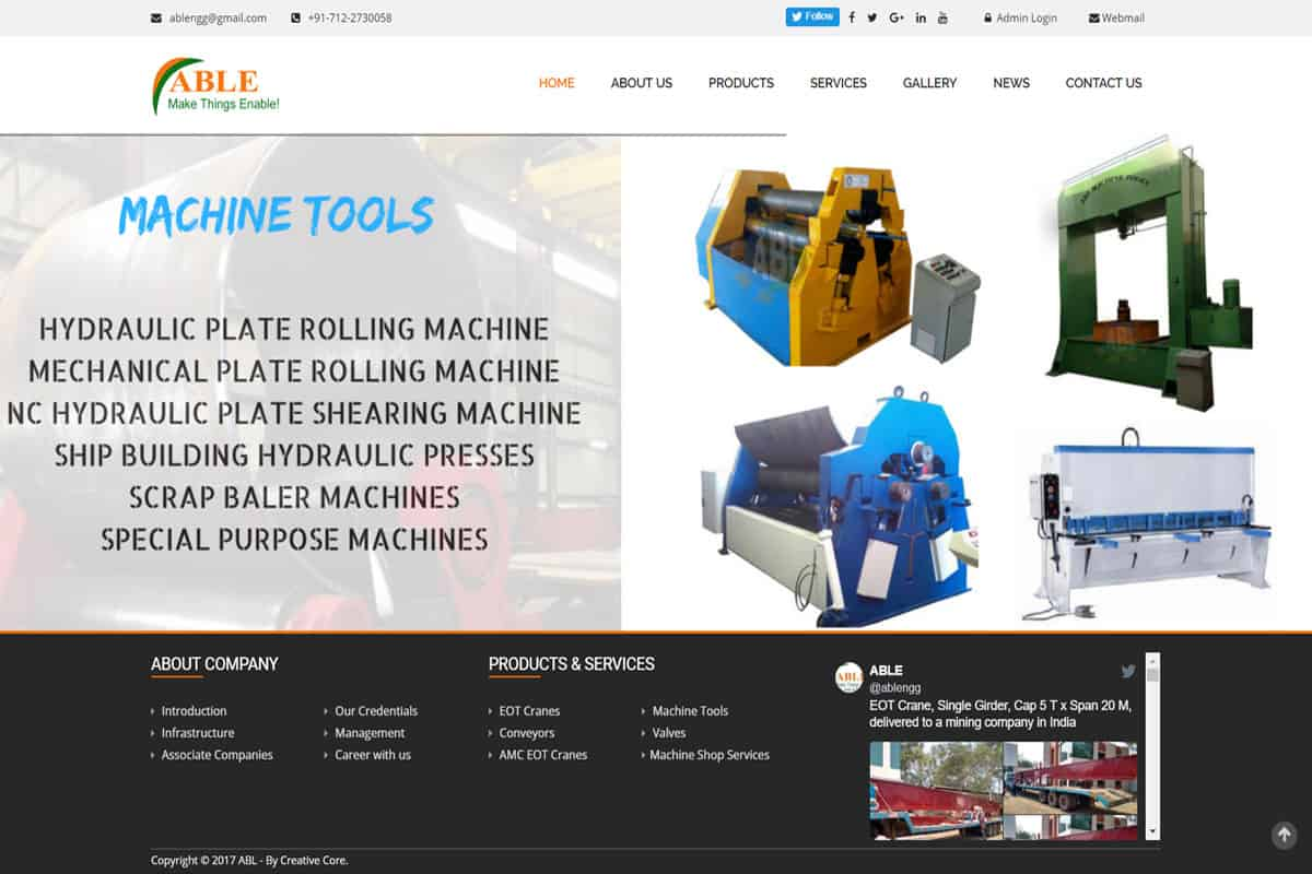 Our Work machine tools products catalog website designing development