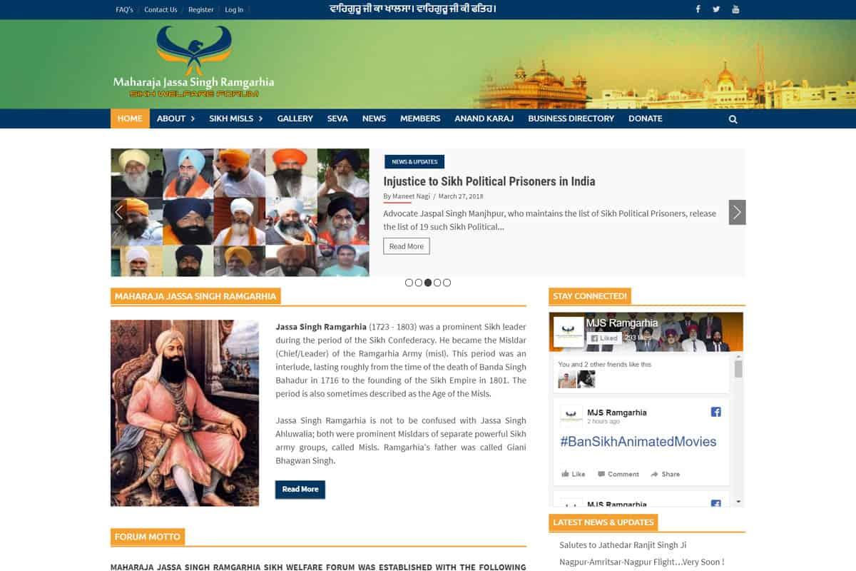 Our Work sikh community forum portal website development