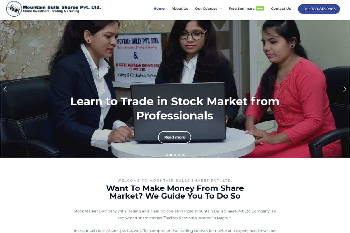 Our Work stock market classes website designing