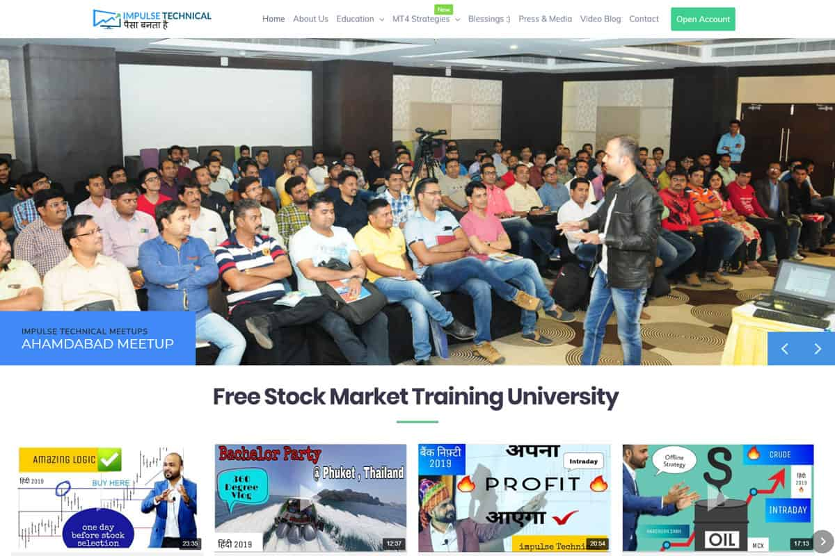 Our Work stock market website designing