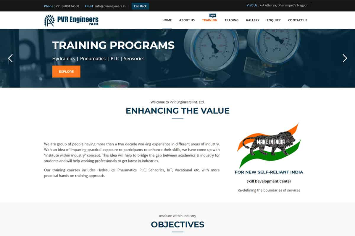 Our Work engineering company website designing